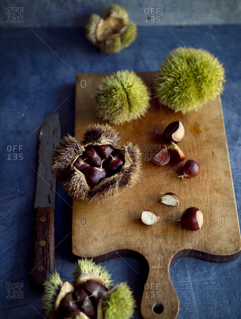 Fresh chestnuts and husks on a cutting board