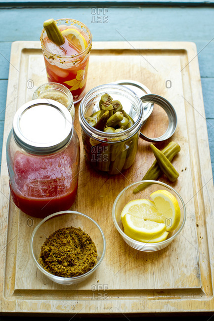 Mason jars of Bloody Mary ingredients
