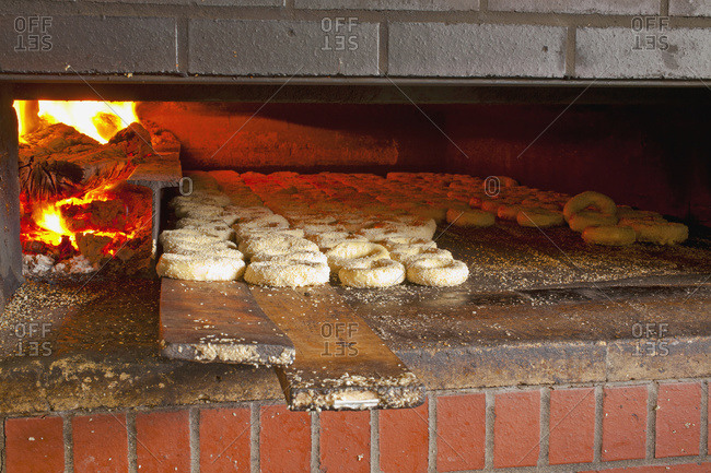 Montreal style bagels in wood fired oven in Magog, Quebec, Canada