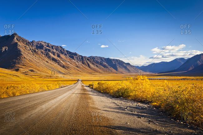 Dalton Highway, Brooks Range, and Trans-Alaska Pipeline in arctic Alaska
