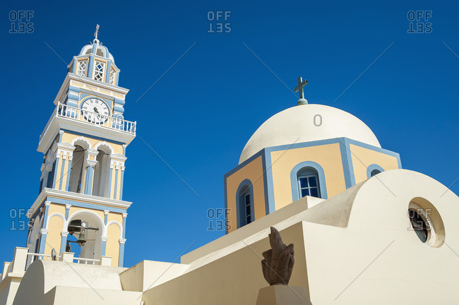 Fira\'s Catholic Cathedral dedicated to Saint John The Baptist in Santorini, Greece