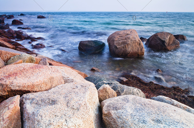 Rocks along the coastline in Falmouth, Massachusetts