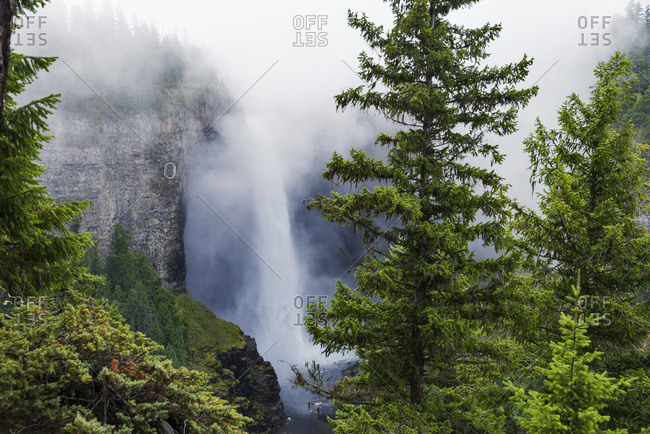 Fog over Helmcken Falls in Wells Gray Provincial Park, British Columbia, Canada