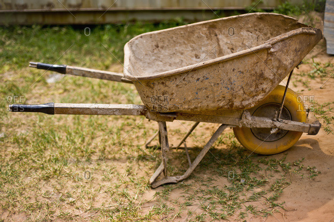 Wheelbarrow at the construction site of the Iranzi Clinic in Kigali, Rwanda