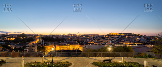 Lisbon, Portugal at twilight - Offset