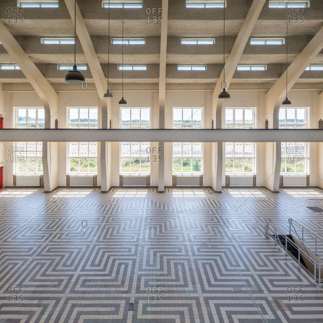 Radio Kootwijk, Netherlands - July 21, 2015: Interior of monumental broadcasting station which was built in the twenties of the last century for radio telegraphic contact with the then Dutch East Indies