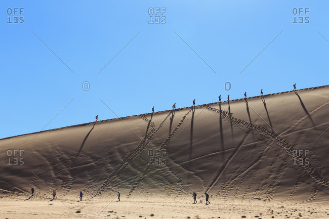 Tour group walking on desert dune, Namib Naukluft National Park