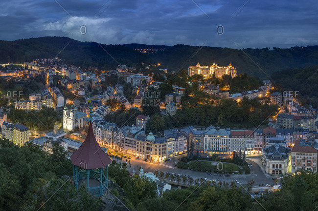 Historic spa section of Karlovy Vary in evening, Bohemia