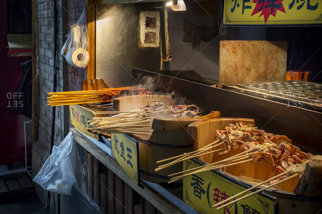Barbecued seafood on a street food stand, Shanghai