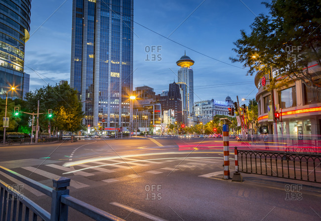 Shanghai, China - July 30, 2015: Intersection at Peoples Square at twilight, Shanghai