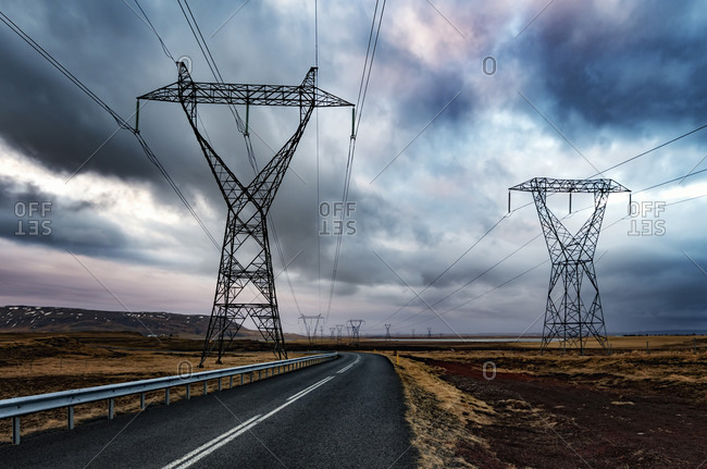 Highway 354 and power poles, Solheimar, Iceland