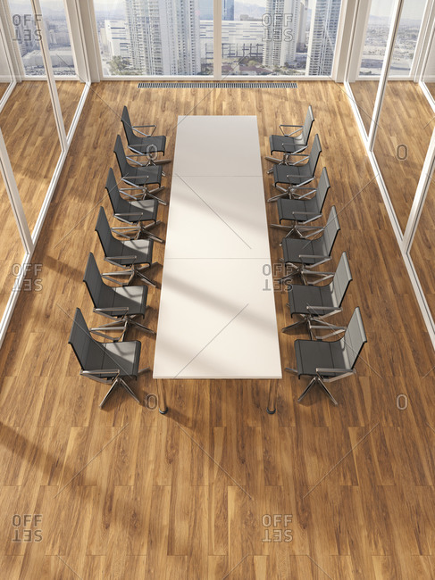 Modern conference room with parquet, 3D Rendering