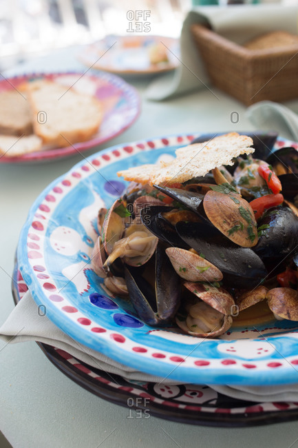 A plate of mussels in Positano