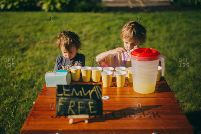 Two young entrepreneurs with their lemonade stand