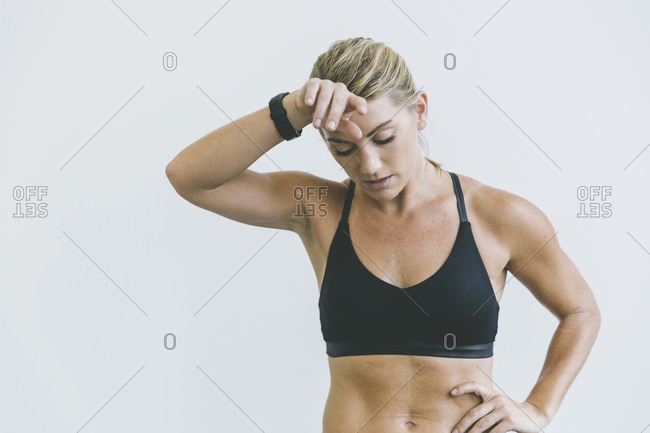 Exhausted woman after working out