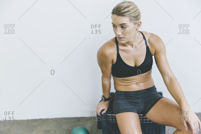 Woman taking a break after a work out