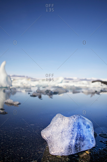 Ice floes in Icelandic glacial lagoon