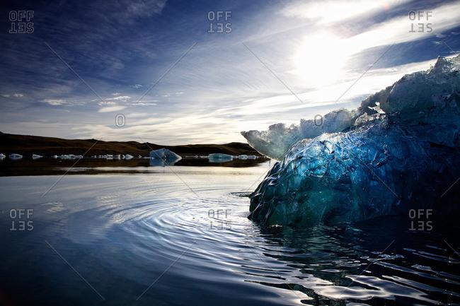 Water ripples Icelandic glacial lagoon