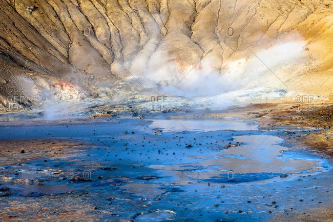 Hot springs landscape in Iceland