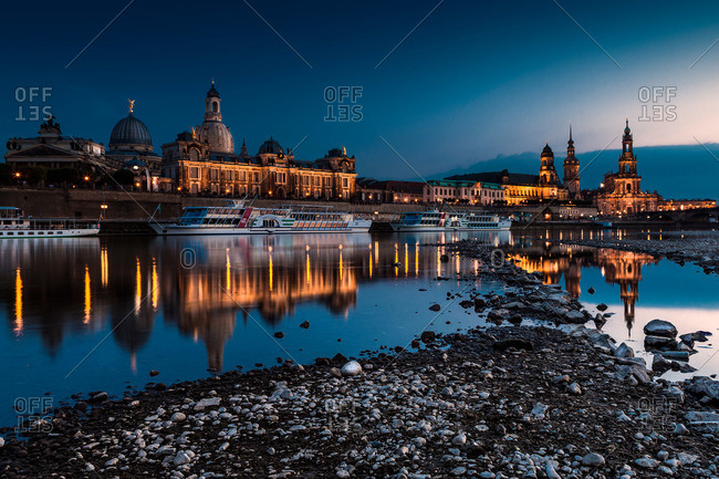 Dresden, Germany - July 29, 2012: Dresden at night along the Elbe