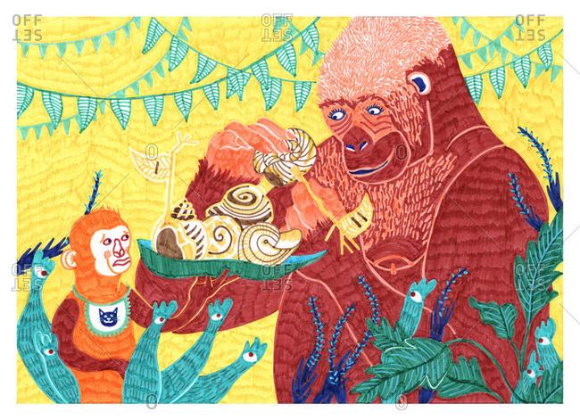 Illustration of a gorilla holding snails