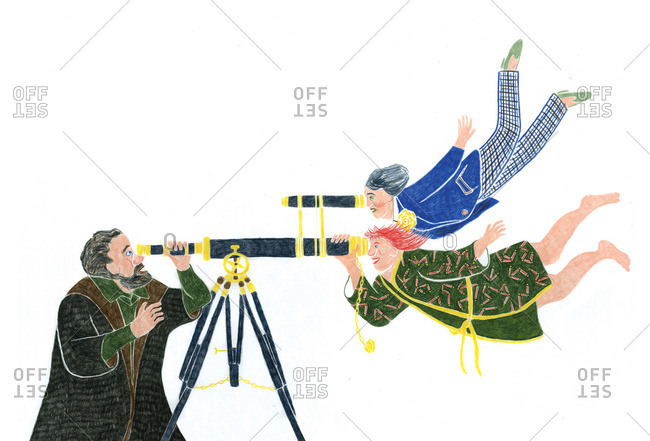 Man and telescope with two women looking back at him