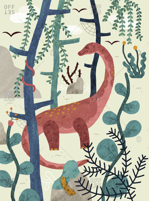 Dinosaur standing in a jungle