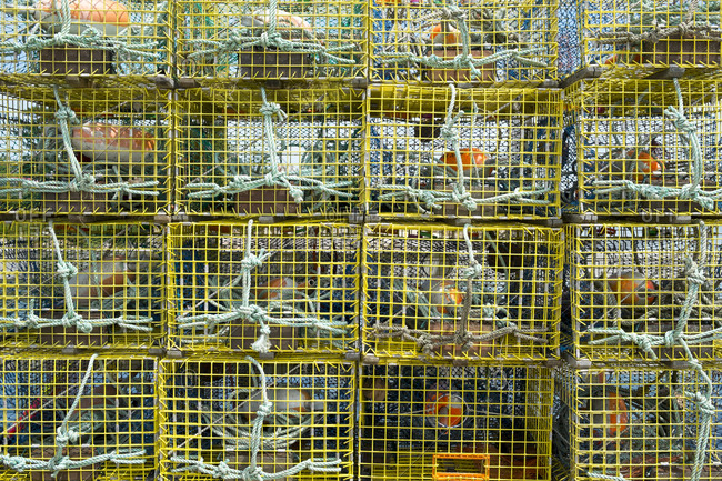 Close up of stacked lobster cages