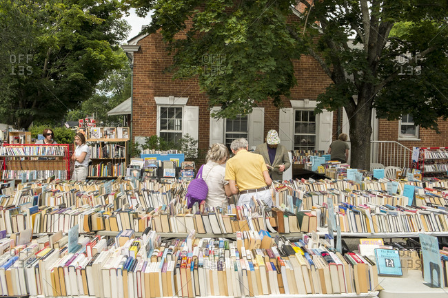 Book sale outdoors in Connecticut town