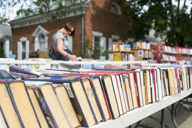 Book sale outdoors in small town
