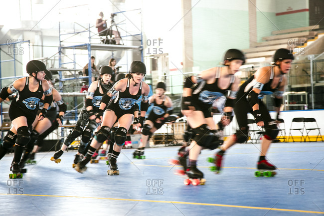Roller derby players at a tournament