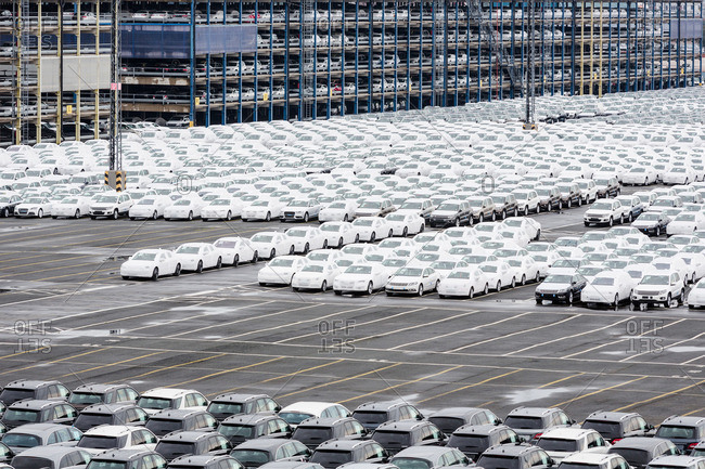 New cars waiting for shipment in lot