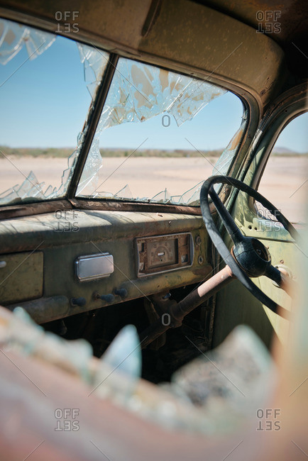 Smashed car interior in Namibia