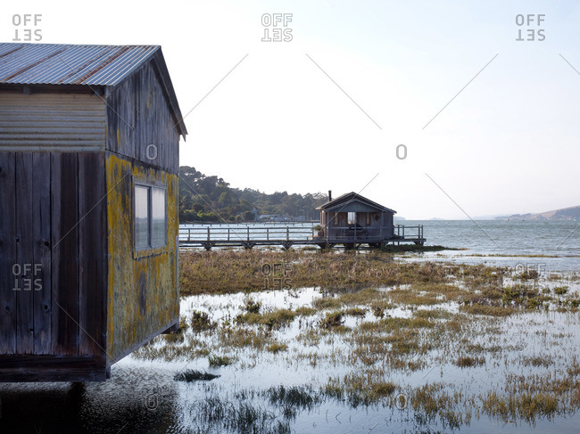 Boathouses on Tomales Bay, California