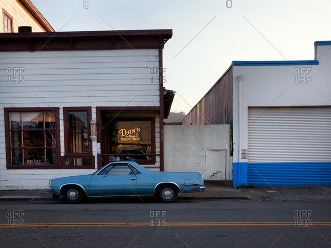 Marin County, California, USA - February 12, 2014: El Camino parked in a small town at dusk
