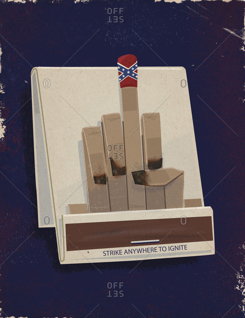 Book of matches arranged as a hand making obscene gesture, with the middle finger adorned with the Confederate flag