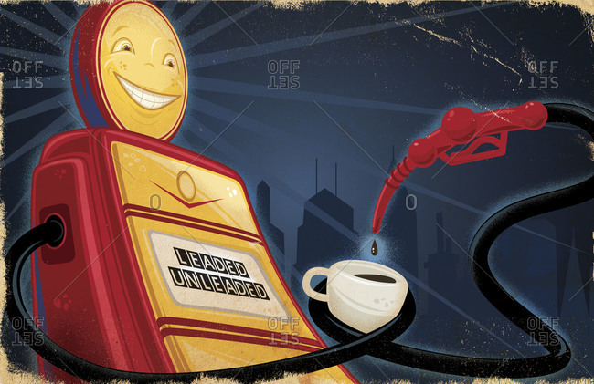 Smiling retro gas pump dispensing coffee from its nozzle