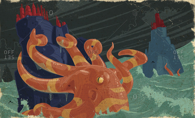Giant orange striped squid climbing a rock island with a city on top