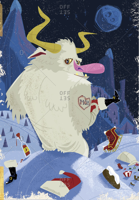 Giant snow monster holding captured Santa Claus while his sleigh and presents litter an arctic landscape
