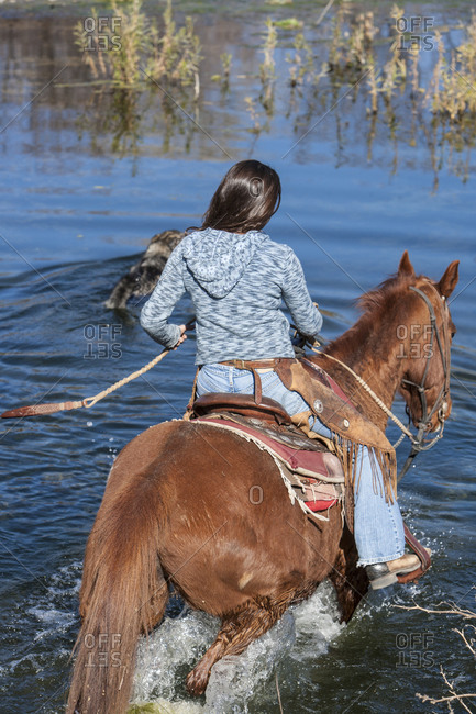Horse wrangler crossing a body of water