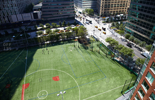 New York City, NY, USA - July 16, 2013: Aerial view of athletic field in in Battery Park City