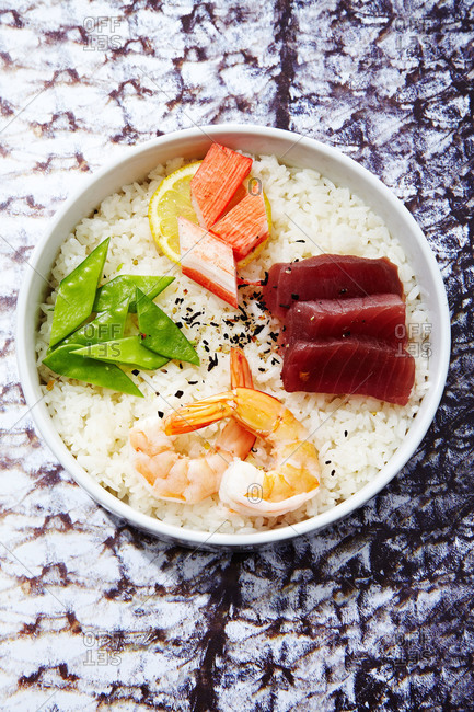 Bowl of sushi and rice