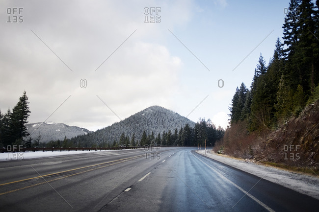 Highway in a winter mountain setting