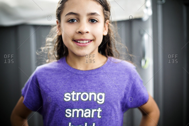 Portrait of girl in empowering t-shirt