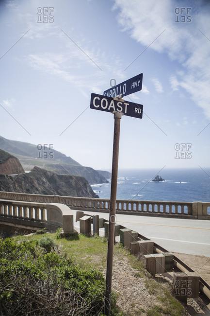 Sign by Rocky Creek Bridge in California