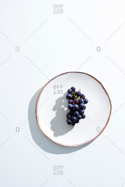 Concord grapes on the vine, on white ceramic plate on white surface
