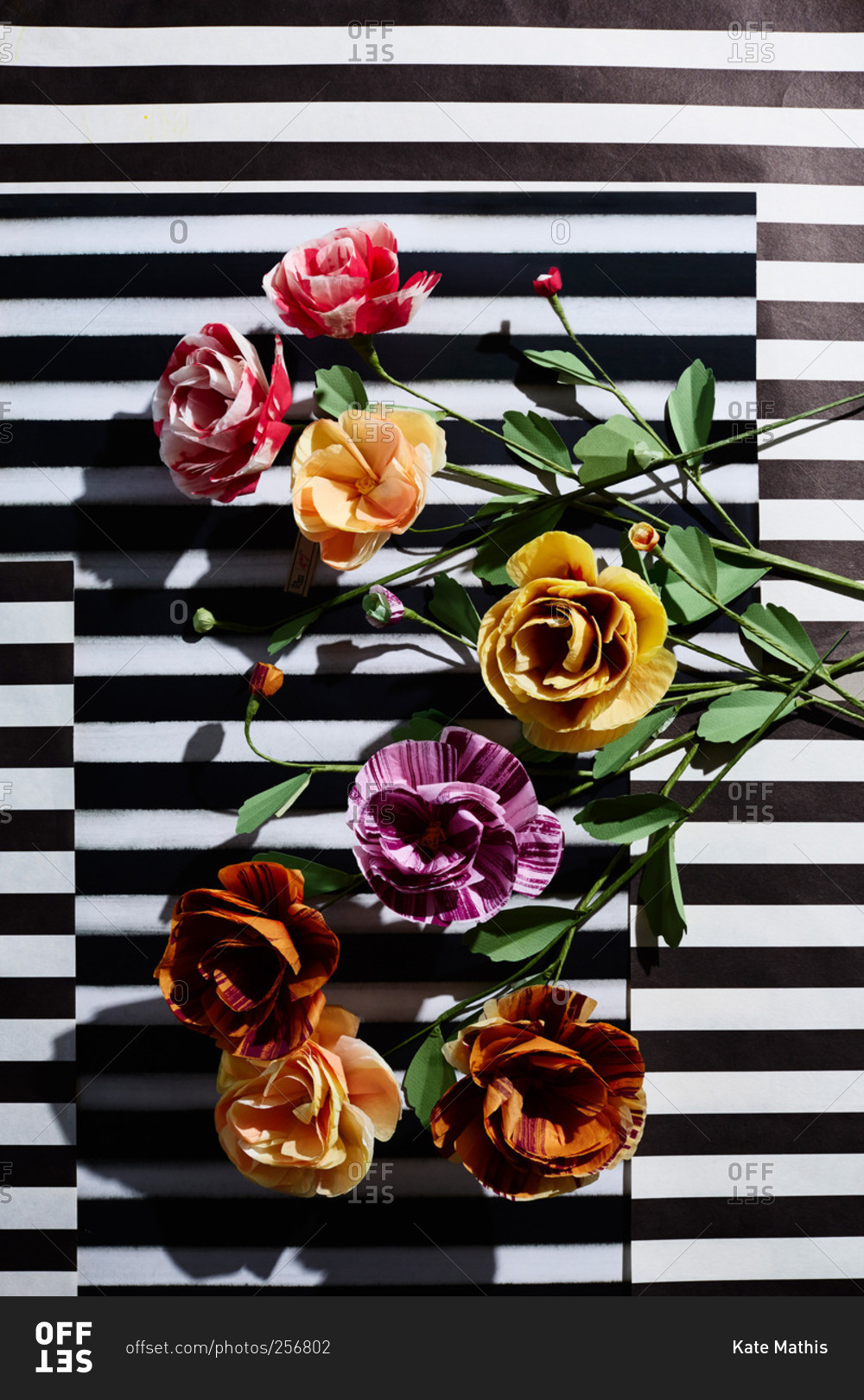 Hand crafted pink purple and yellow paper flowers on black hand crafted pink purple and yellow paper flowers on black white striped background dhlflorist Choice Image