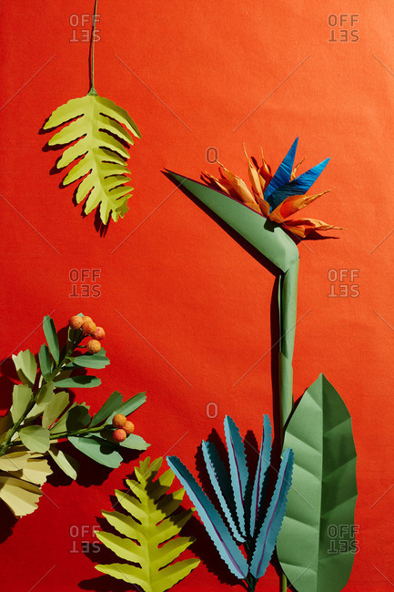 Hand Crafted Paper Bird Of Paradise Flower Ferns And Leaves On