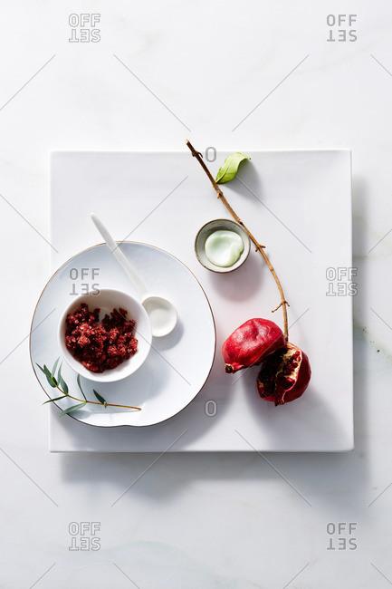 Natural bath salts, lotion, pomegranate and ceramics