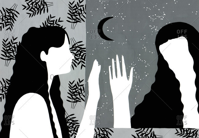 Women waving goodbye through a window